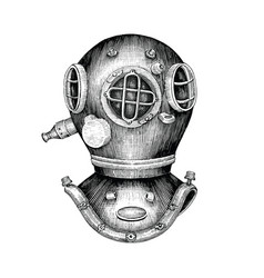 Diving helmet hand drawing vintage style vector