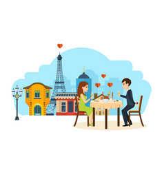 Enamoured couple sitting in restaurant talking vector