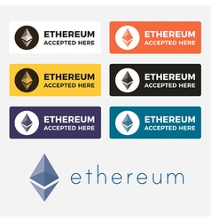 Ethereum cryptocurrency logo vector image