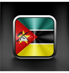 Flag of mozambique round glossy icon button vector