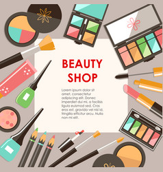 flat cosmetics bacground beauty fashion products vector image