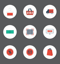 Flat icons qr big sale percentage and other vector