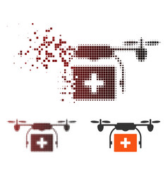 fractured pixel halftone medical drone shipment vector image
