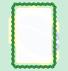 frame and border of ribbon with brazil flag vector image