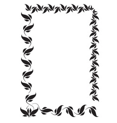 Frame with folk floral ornaments vector