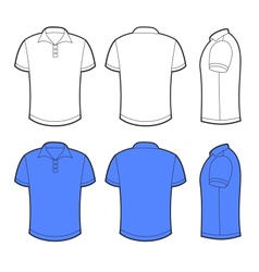 Front back and side views blank polo vector