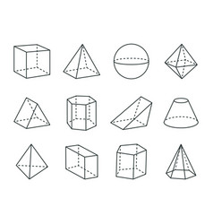 Geometric prism set varied forms figures drawing vector