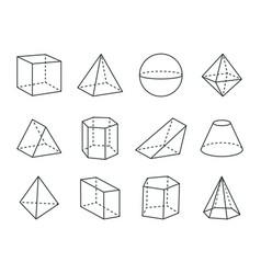 geometric prism set varied forms figures drawing vector image