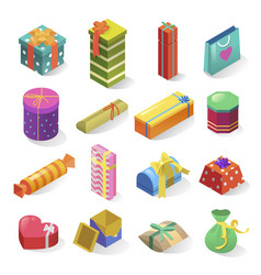 gifts isometric icons set isolated from vector image