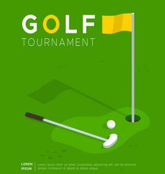 Golf tournament promo poster flat template vector