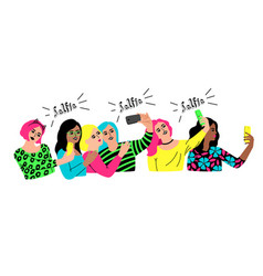group selfie on white background vector image