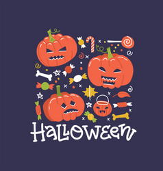 halloween holiday square banner design with candy vector image