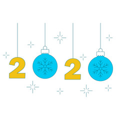 hanging numbers and christmas balls 2020 new year vector image
