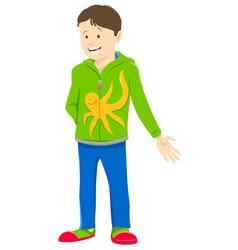 Happy kid or teen boy cartoon character vector