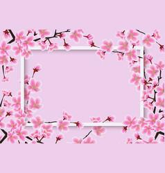 horizontal sakura or cherry tree with blossom vector image