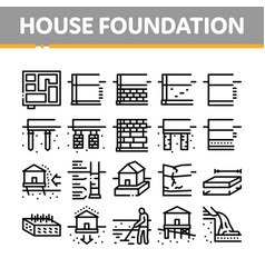 House foundation base collection icons set vector