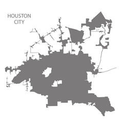 Houston city map grey silhouette shape vector
