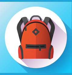 icon bright red school or travel backpack vector image