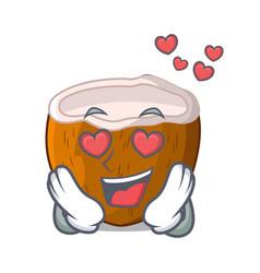 In love cartoon beverage coconuts on beach vector