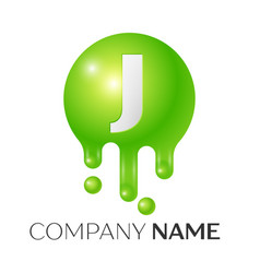 J letter splash green dots and bubbles letter vector