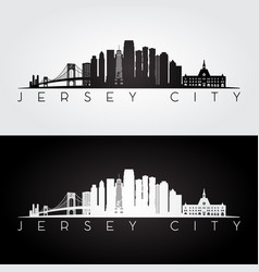 Jersey city usa skyline and landmarks silhouette vector