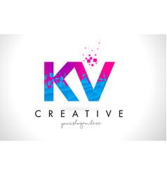 kv k v letter logo with shattered broken blue vector image