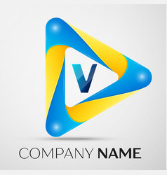 Letter v symbol in the colorful triangle vector