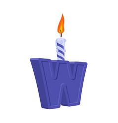 letter w birthday font letter and candle vector image