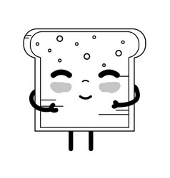 Line kawaii cute tender bread nutrition vector