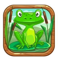 Little green frog sitting on leaf vector
