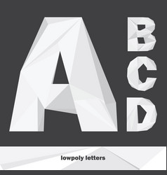 Lowpoly letters a b c d isolated on dark vector