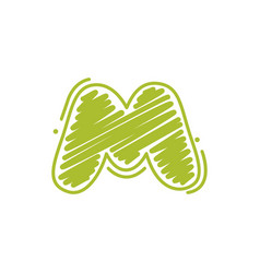 M letter logo in childish wax crayons scribbles vector