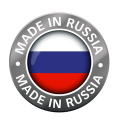 made in russia flag metal icon vector image