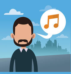man bubble speech music note vector image