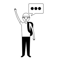 man character and speech bubble vector image