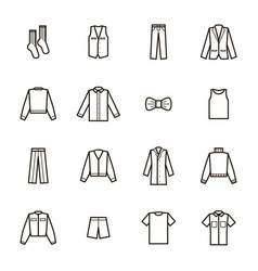 man clothes signs black thin line icon set vector image