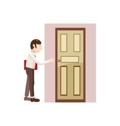 Man with a folder at the door icon cartoon style vector