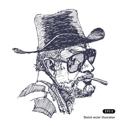 Man with hat sunglasses and beard smoking cigar vector image