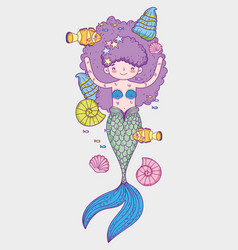 Mermaid woman wearing snail in the hairstyle with vector