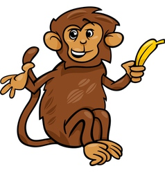 monkey with banana cartoon vector image