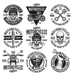 Motorcycles set of nine vintage emblems vector