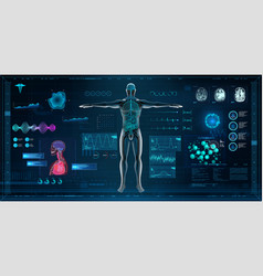 Mrt and body scan in hud style design vector
