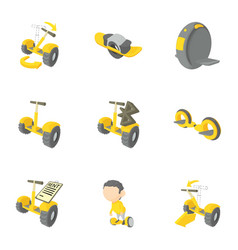 new transport for people icons set cartoon style vector image