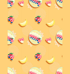 pastel orange seamless pattern with smoothie bowls vector image