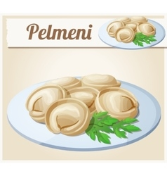 Pelmeni Meat dumplings Cartoon icon vector image