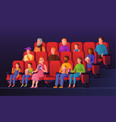 People in movie hall kids and adults watch cinema vector