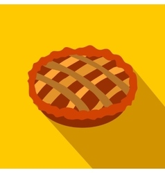 Pie flat icon with shadow vector
