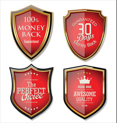 premium quality gold and red shield set vector image