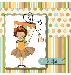 Pretty young girl she hide a big gift vector