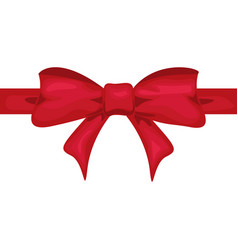 red ribbon with red bow decor for present design vector image